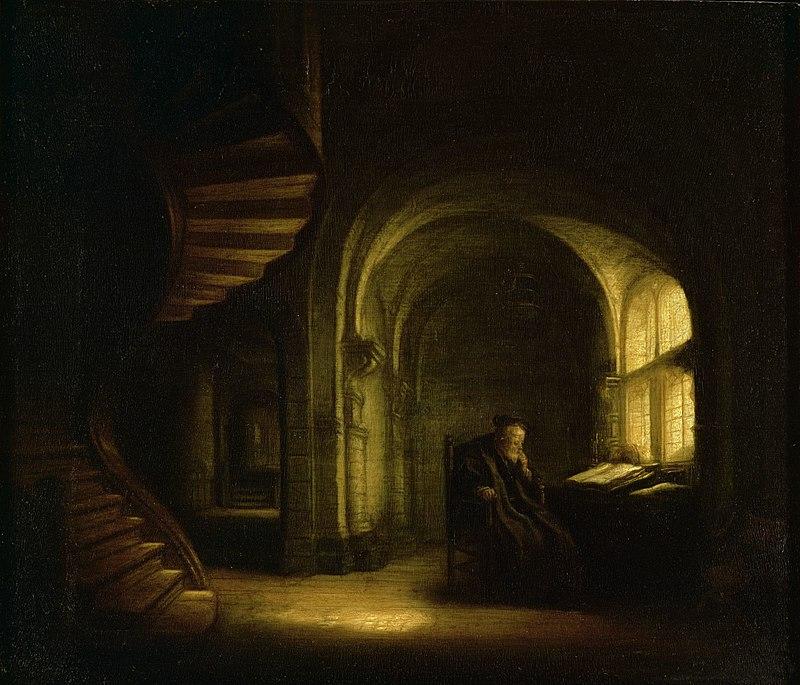 פילוסוף ביושבו מול ספר פתוח (סלומון קונינק)